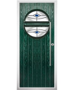 The Xenia Composite Door in Green with Blue Fusion Ellipse