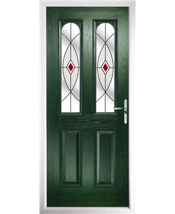 The Aberdeen Composite Door in Green with Red Fusion Ellipse