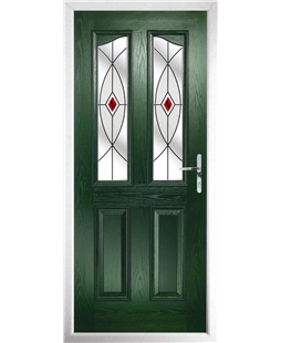 The Birmingham Composite Door in Green with Red Fusion Ellipse