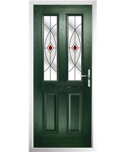 The Cardiff Composite Door in Green with Red Fusion Ellipse