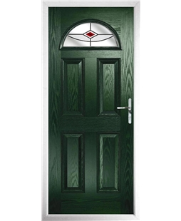 The Derby Composite Door in Green with Red Fusion Ellipse