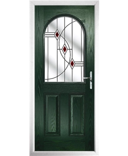 The Edinburgh Composite Door in Green with Red Fusion Ellipse