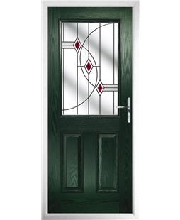 The Farnborough Composite Door in Green with Red Fusion Ellipse