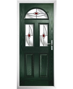 The Glasgow Composite Door in Green with Red Fusion Ellipse