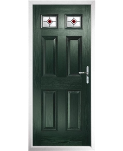 The Ipswich Composite Door in Green with Red Fusion Ellipse