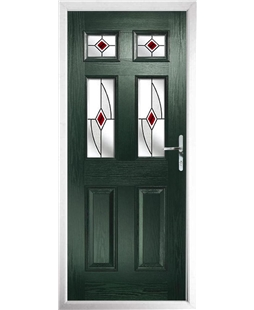 The Oxford Composite Door in Green with Red Fusion Ellipse