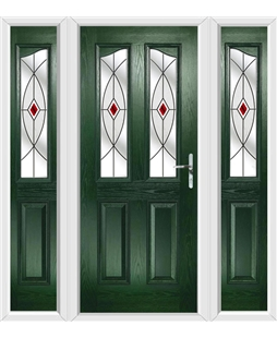 The Birmingham Composite Door in Green with Red Fusion Ellipse and matching Side Panels