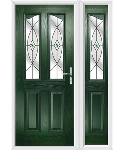 The Birmingham Composite Door in Green with Green Fusion Ellipse and matching Side Panel