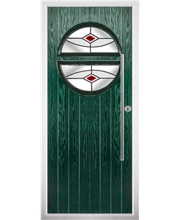 The Xenia Composite Door in Green with Red Fusion Ellipse