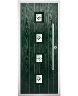 The Leicester Composite Door in Green with Green Fusion Ellipse
