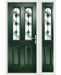 The Aberdeen Composite Door in Green with Green Diamonds and matching Side Panel