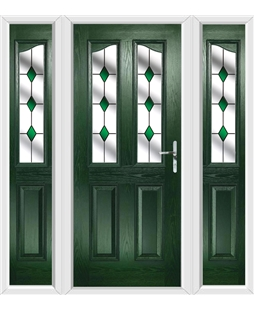 The Birmingham Composite Door in Green with Green Diamonds and matching Side Panels