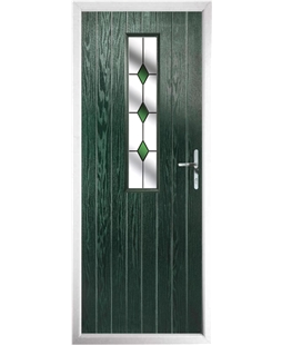 The Sheffield Composite Door in Green with Green Diamonds