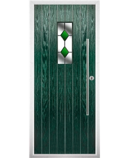 The Zetland Composite Door in Green with Green Diamonds