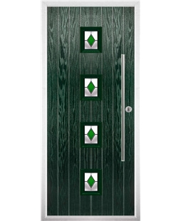 The Leicester Composite Door in Green with Green Diamonds