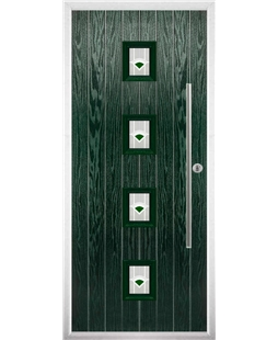The Leicester Composite Door in Green with Green Murano