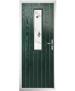 The Sheffield Composite Door in Green with Green Murano