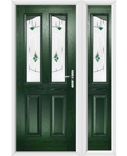 The Birmingham Composite Door in Green with Green Murano and matching Side Panel