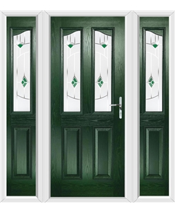 The Birmingham Composite Door in Green with Green Murano and matching Side Panels