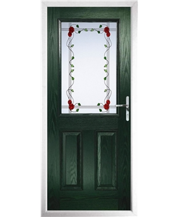 The Farnborough Composite Door in Green with Mackintosh Rose