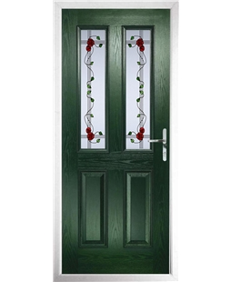 The Cardiff Composite Door in Green with Mackintosh Rose