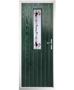 The Sheffield Composite Door in Green with Mackintosh Rose