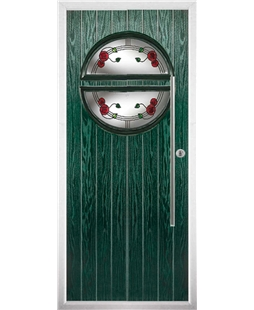 The Xenia Composite Door in Green with Mackintosh Rose