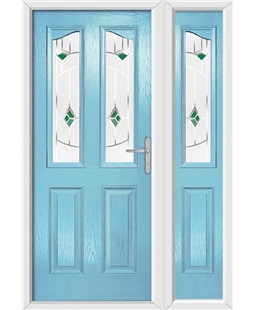 The Birmingham Composite Door in Blue (Duck Egg) with Green Murano and matching Side Panel