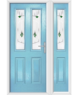 The Cardiff Composite Door in Blue (Duck Egg) with Green Murano and matching Side Panel
