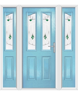 The Birmingham Composite Door in Blue (Duck Egg) with Green Murano and matching Side Panels