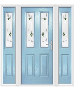 The Cardiff Composite Door in Blue (Duck Egg) with Green Murano and matching Side Panels