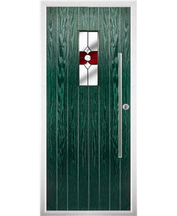 The Zetland Composite Door in Green with Red Crystal Bohemia