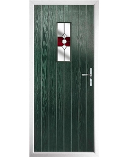 The Taunton Composite Door in Green with Red Crystal Bohemia