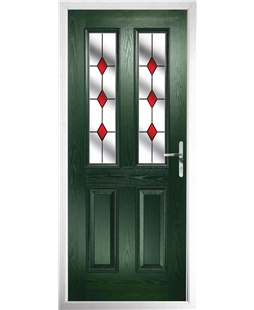 The Cardiff Composite Door in Green with Red Diamonds