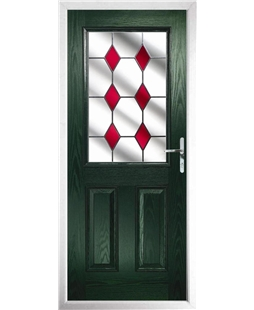 The Farnborough Composite Door in Green with Red Diamonds