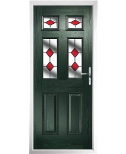The Oxford Composite Door in Green with Red Diamonds