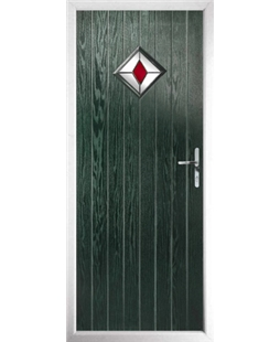 The Reading Composite Door in Green with Red Diamond