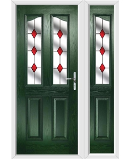 The Birmingham Composite Door in Green with Red Diamonds and matching Side Panel