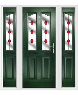 The Birmingham Composite Door in Green with Red Diamonds and matching Side Panels