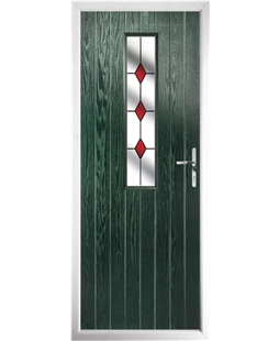 The Sheffield Composite Door in Green with Red Diamonds