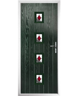 The Uttoxeter Composite Door in Green with Red Diamonds