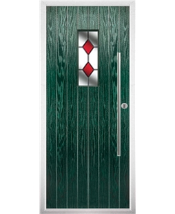 The Zetland Composite Door in Green with Red Diamonds