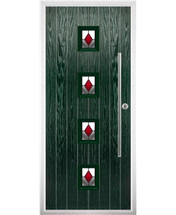 The Leicester Composite Door in Green with Red Diamonds