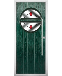 The Xenia Composite Door in Green with Red Diamonds