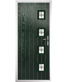 The Preston Composite Door in Green with Red Fusion Ellipse
