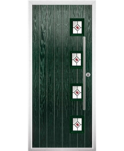 The Norwich Composite Door in Green with Red Fusion Ellipse