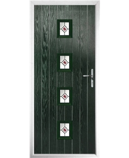 The Uttoxeter Composite Door in Green with Red Fusion Ellipse