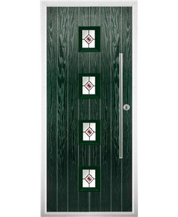 The Leicester Composite Door in Green with Red Fusion Ellipse