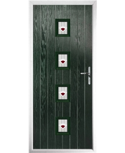 The Uttoxeter Composite Door in Green with Red Murano
