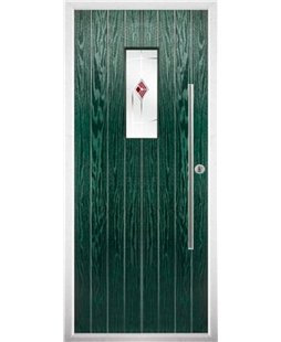 The Zetland Composite Door in Green with Red Murano